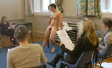 Sean entertaining a surprise Life Drawing Hen Party in the West Country.