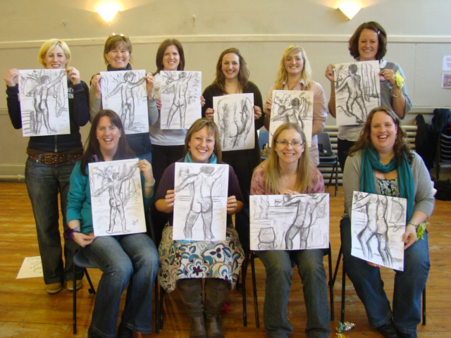 """Happy Hens"" with their pictures after one of our Life Drawing Hen Parties in Bristol"